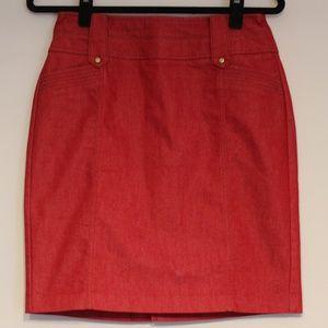 Worthington Petite Red Knee-Length Pencil Skirt